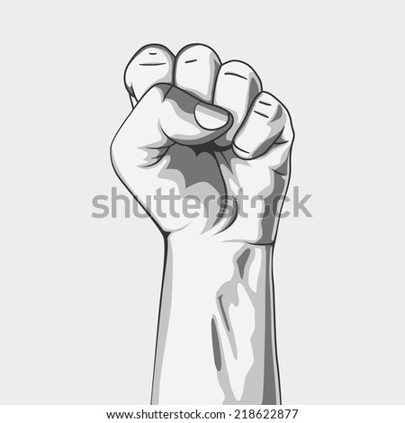 A clenched fist. Black and white. Vector illustration. Hand collection. - stock vector