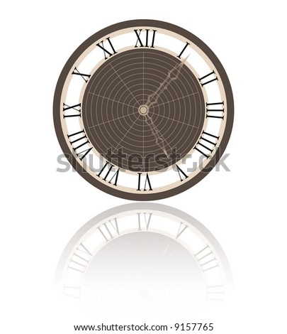 a clock and it's reflection - stock vector