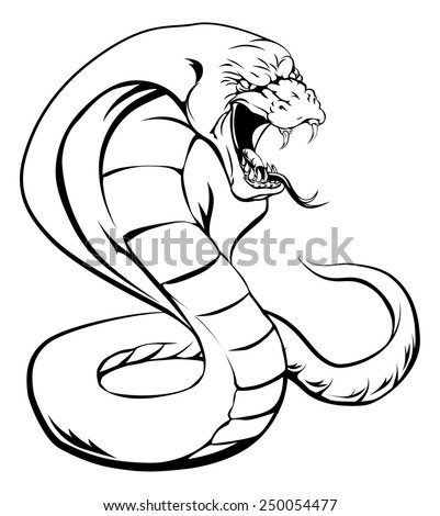 A cobra snake with hood up and tongue out about to strike - stock vector