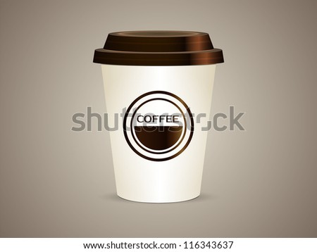 A coffee cup vector illustration Isolated. Blank coffee cup to represent your template design. - stock vector
