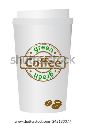 A coffee cup vector illustration with the words green coffee  - stock vector