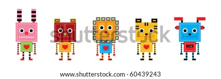 a collection of animal robot - stock vector