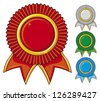 a collection of awards icon colored blue, red, gray and green (set of four rosettes, award ribbon rosette, award ribbon) - stock vector