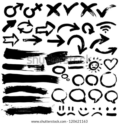 A collection of black grungy vector abstract hand-painted brush and  stroke arrows - stock vector