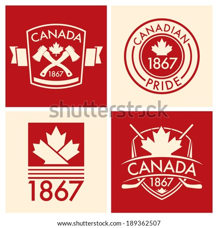 A collection of Canadian shields and crests in vector format. - stock vector