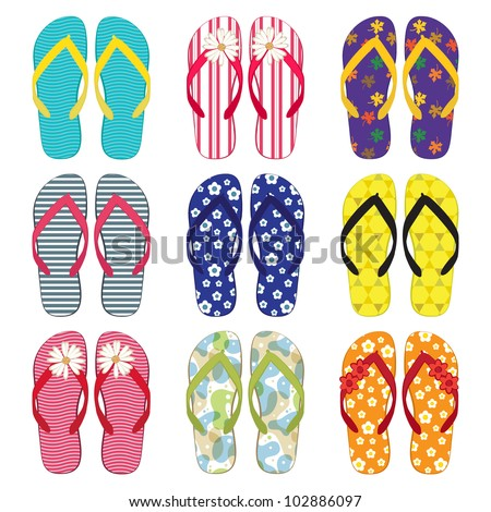 A collection of colorful flip flops - stock vector
