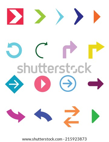 A collection of colorful vector arrow elements - stock vector