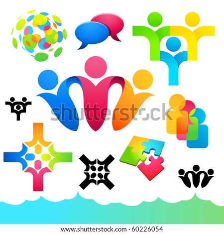 A collection of connecting people icons and elements. - stock vector