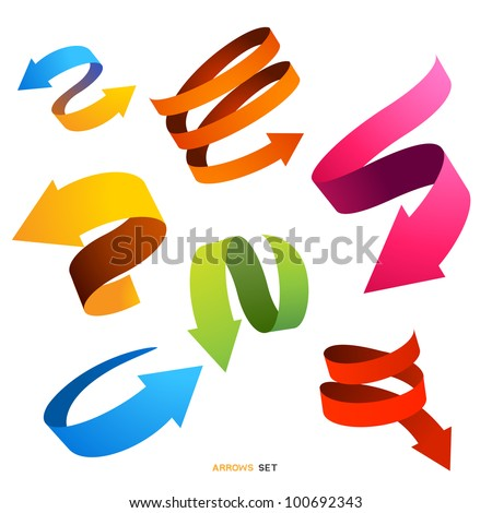 A Collection of curved arrows, vector designs. - stock vector