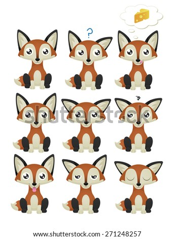 A collection of cute foxes with 9 different facial expressions. Eps 10 Vector. - stock vector