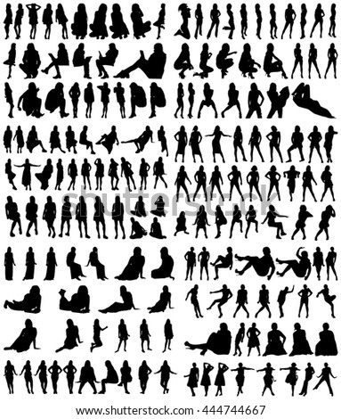 A Collection of Female Silhouettes on White Background - stock vector