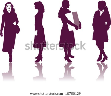 A collection of four Businesswomen silhouettes with shadows - stock vector