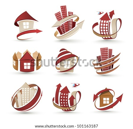 A collection of icons of buildings. Vector illustration - stock vector