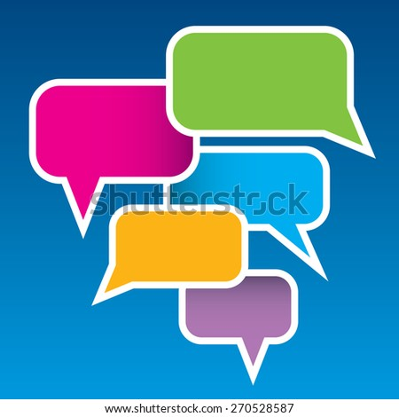 A collection of overlapping vector speech bubbles over a blue background  - stock vector