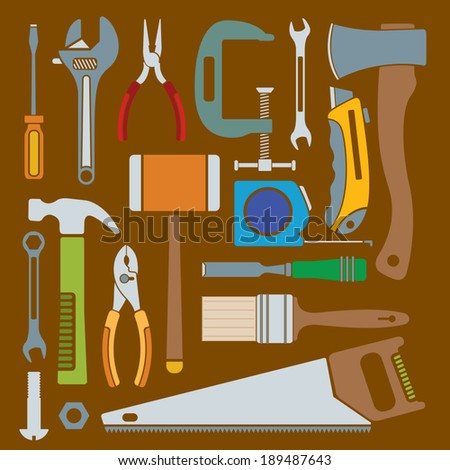 A collection of simple vector hand tool icons. - stock vector