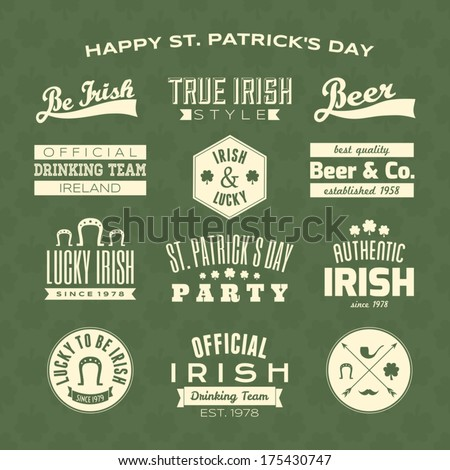 A collection of St. Patrick's Day typographic design elements against a green clover seamless background. - stock vector
