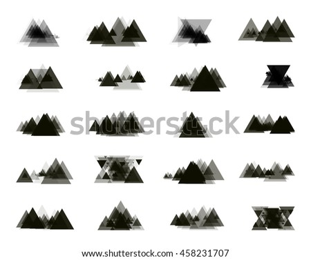 A collection of stand-alone monochrome black elements for design of posters, cards, brochures and site titles. Isolated objects on white background can be edited. Vector illustration - stock vector