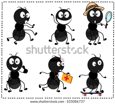 a collection of various cartoon characters ants - stock vector