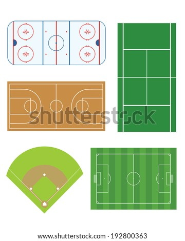 A collection of vector sports fields from major sports including hockey, tennis, basketball, baseball and soccer - stock vector