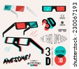 A collection of vector symbol design 3D glasses used for viewing retro 3D images and movies. Vector illustration Set. - stock vector