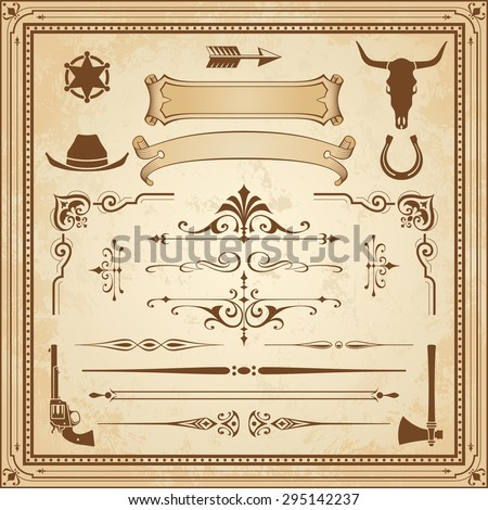 A collection of Wild West ornament, with frames, rulers, angle ornaments and clipart.  - stock vector
