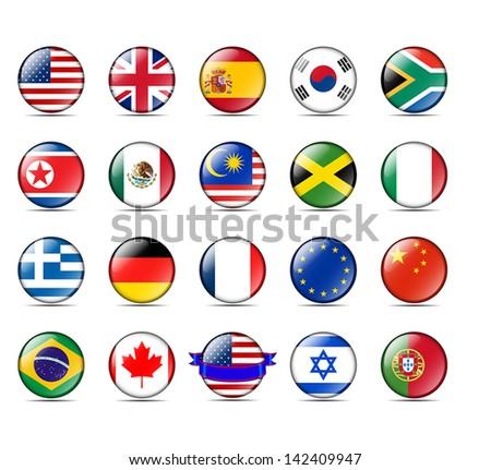 A collection of world badges with flags - stock vector