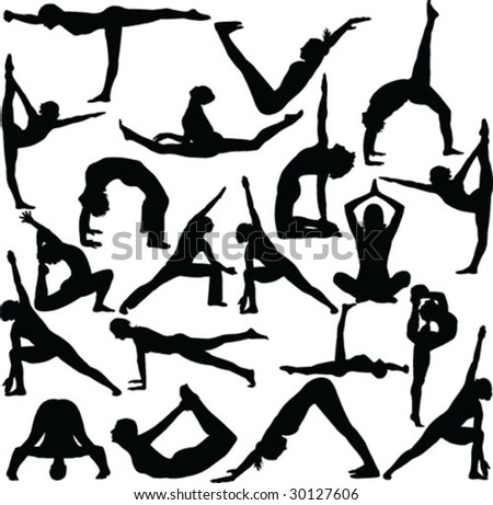 A collection of Yoga Poses - stock vector