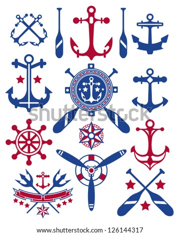 A collections of vector nautical icons. - stock vector