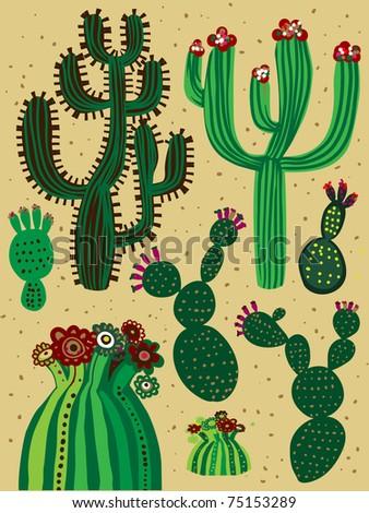 a color cactus set - stock vector