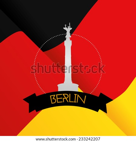 a colored background with the German flag and the Berlin victory column - stock vector