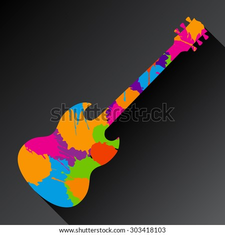 A Colorful Abstract Guitar Background  With Space for Text - stock vector