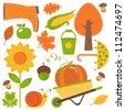 A colorful autumn set - stock vector