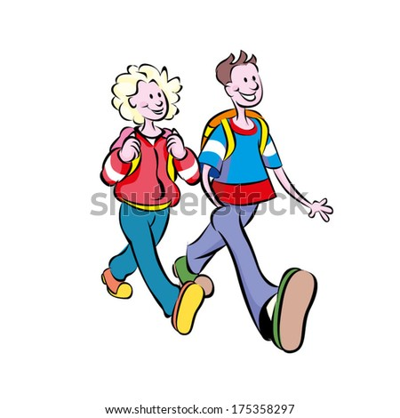 A colorful cartoon of two teenagers, a boy and a girl, walking to school together. Both carry school bags on their backs, they are happy and smiling, glad to go Back to School. - stock vector