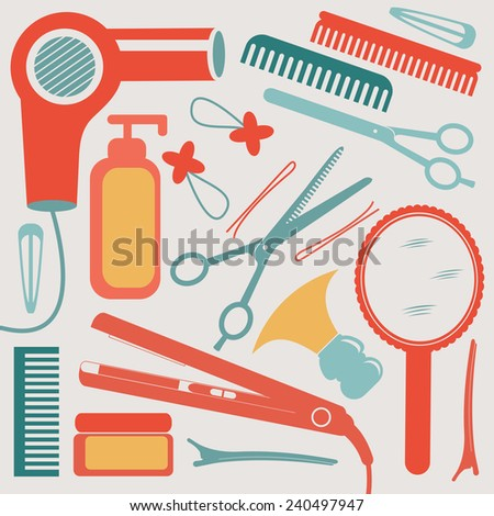 A colorful hairdressing equipment collection. Vector illustration - stock vector