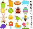 A colorful set of cute Vector Icons : Spring Season Theme, isolated on white - stock vector