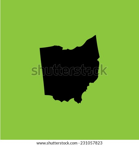 A Coloured background with the shape of the united states state of Ohio - stock vector