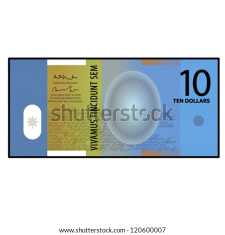 A colourful $10 bank note / paper / polymer money. - stock vector