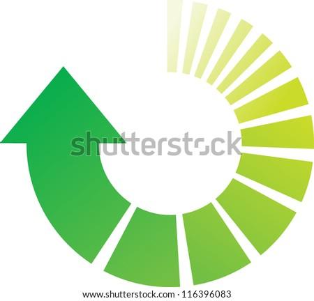 A Colourful Green Vector Circular Arrow Illustration - stock vector