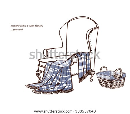 A comfortable chair and a blanket, vector sketch. - stock vector