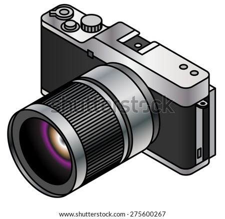 A compact system / mirrorless interchangeable lens camera. - stock vector