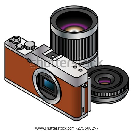 A compact system / mirrorless interchangeable lens camera body. Shown with two lenses. - stock vector