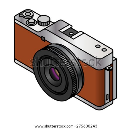 A compact system / mirrorless interchangeable lens camera. Brown, with a pancake lens. - stock vector