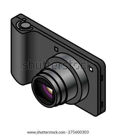A compact ultra slim digital camera. - stock vector