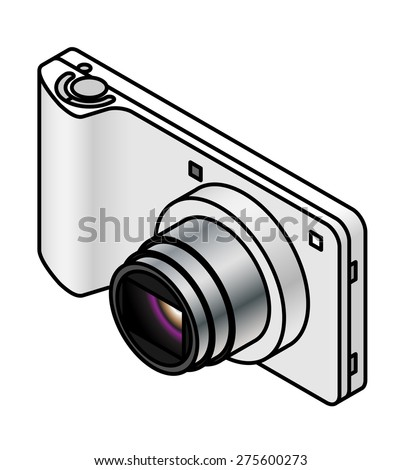 A compact ultra slim digital camera.White/silver. - stock vector