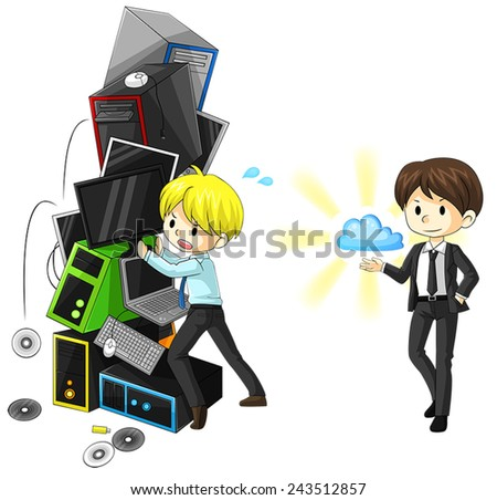 A comparison between old-fashion internet system and cloud system, create by vector  - stock vector