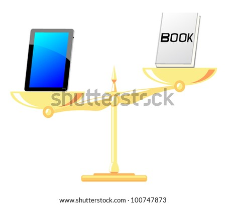 A comparison between the pad with the book - stock vector