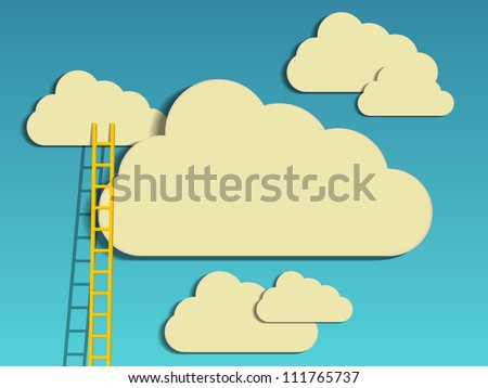 a competition concept, clouds with ladders on blue - stock vector