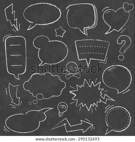 A comprehensive set of high detail Design grunge Chalkboard Speech Bubbles and comic elements. - stock vector
