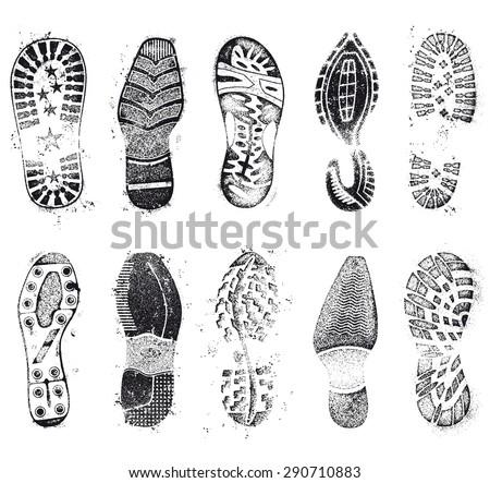 A comprehensive set of high detail Design grunge shoe tracks - stock vector