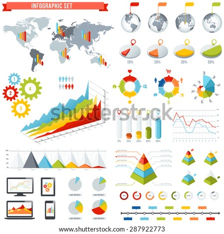 A comprehensive Template set for infographics. - stock vector